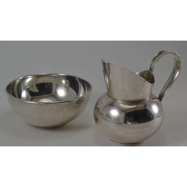 Gorham Gorham Sterling Silver Mid Century Modern Sugar & Creamer 772 773 For Sale - Image 4 of 10