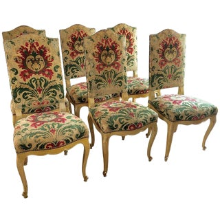 1960s Louis XV Cut Velvet Upholstered Dining Chairs - Set of 6 For Sale