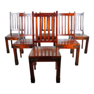 Vintage South Asian Set of 6 Mahogany Dining Chairs For Sale