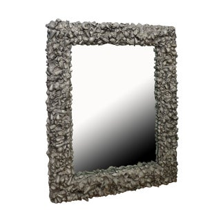 1950s Vintage Custom Steel & Cement Shell Sculptural Mirror For Sale