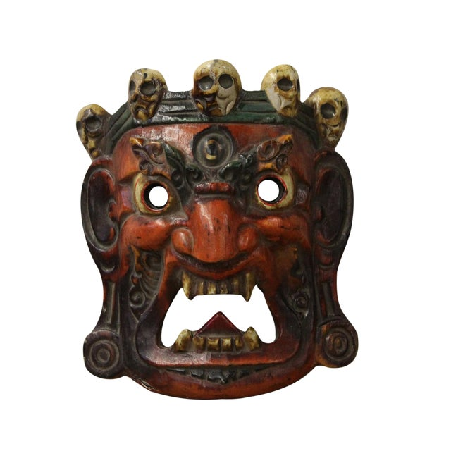 Vintage Solid Wood Handcrafted Chinese Village Traditional Opera Mask For Sale