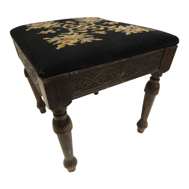 Vintage Gothic Style Footstool Reupholstered with Floral Tapestry Louis XVI Style Legs For Sale