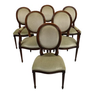 Set of 6 Louis XVI Style French Medallion Light Sage Velvet Dining Chairs For Sale