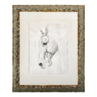 Antique Graphite Drawing of a Horse C. 1930s For Sale