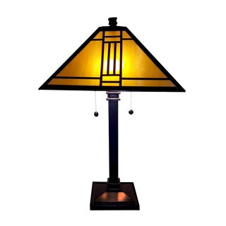 Dale Tiffany Noir Mission Arts and Crafts Table Lamp Finished in Mica Bronze For Sale