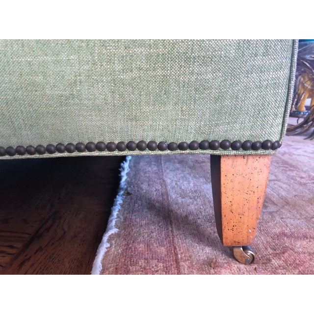 Wood 1980s Vintage Tufted Sleigh Back Sofa For Sale - Image 7 of 8