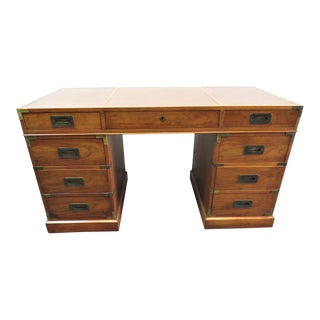 Mid 20th Century Baker Milling Road Walnut Campaign Style Desk For Sale