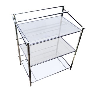 1970s Hollywood Regency 3 Tier Faux Bamboo Chrome & Glass Etagere Style Sideboard For Sale