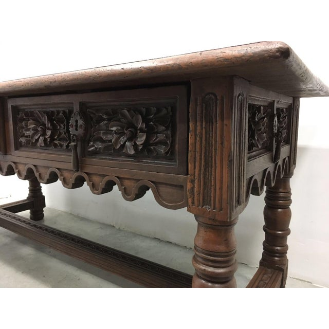 17th Century Spanish Baroque Carved Walnut, Refectory Console Table For Sale - Image 10 of 10