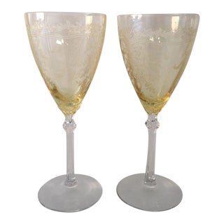 1930's Fostoria Etched Topaz Tall Wine Glasses - A Pair