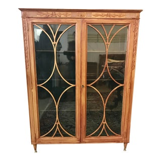 20th Century Traditional Carved Oak China Display Cabinet For Sale