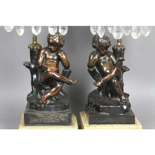 Regency Cast Metal, Bronze And Cut Glass Candlesticks For Sale - Image 4 of 9