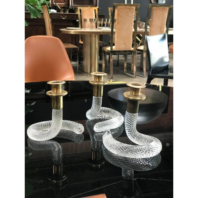 Elegant set of three Murano candlestick by Venini from the 1950s.