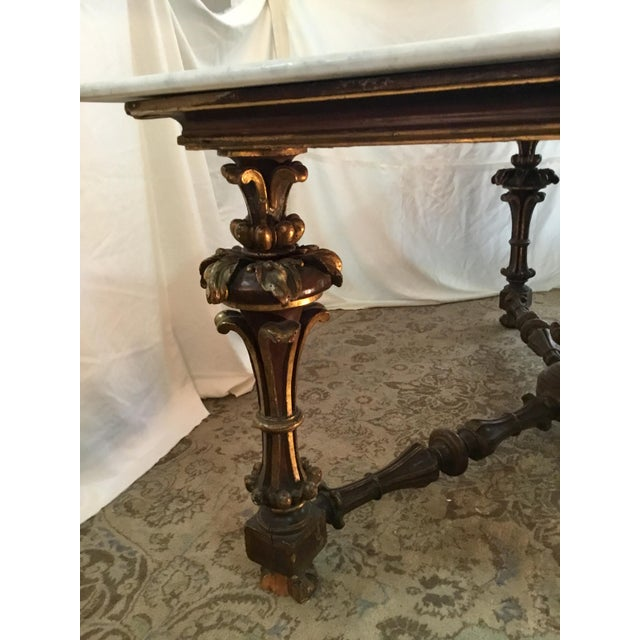19th Century 19th Century French Carved & Polychrome Table Base With Carrara Marble Top For Sale - Image 5 of 13