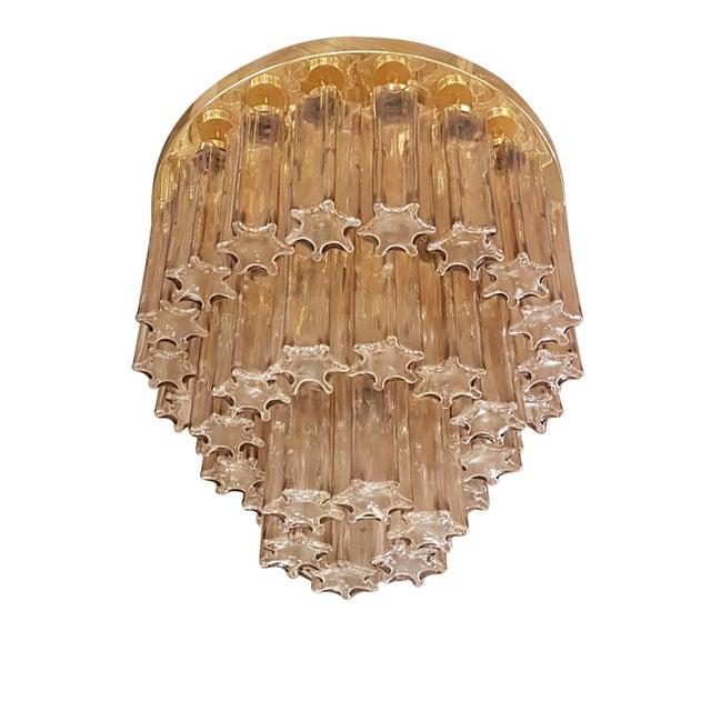 Metal Mid Century Modern Limburg Murano Clear Glass & Brass Flush Mount Light For Sale - Image 7 of 7