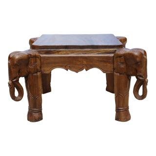 Hand-Carved Elephant Cocktail Table For Sale