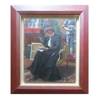 Early 20th Century Antique Levé Woman Reads Framed Painting For Sale