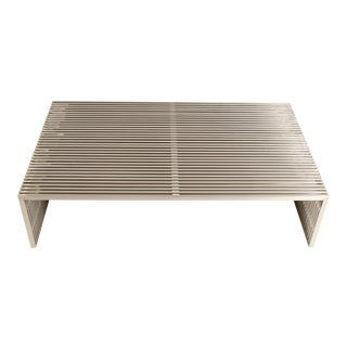 Large Milo Baughman Brushed Steel and Lucite Coffee Table For Sale