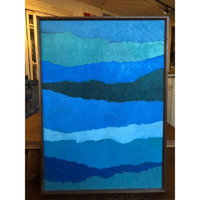 "Abstract ""Shades of Blue"" Oil Painting on Canvas For Sale - Image 9 of 9"