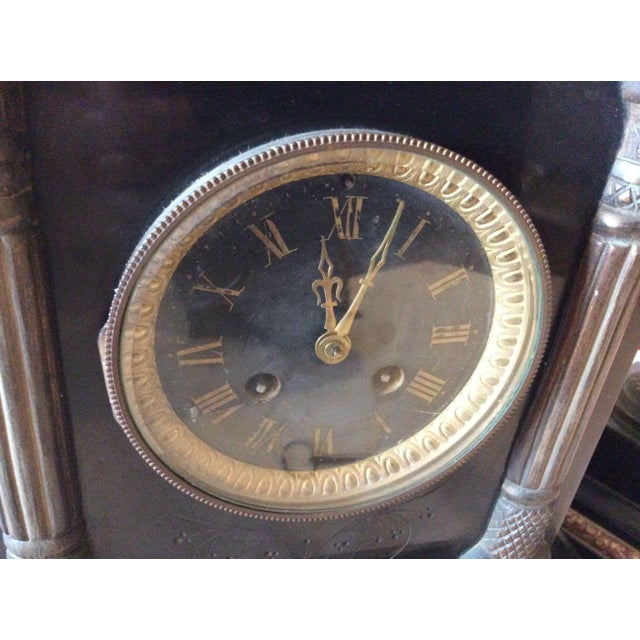 French Black Marble Mantle Clock With Candelabras For Sale - Image 5 of 11