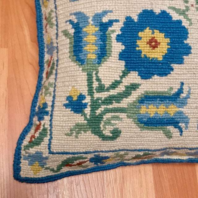 Shabby Chic 1950s Shabby Chic Handmade Needlepoint Pillow For Sale - Image 3 of 13