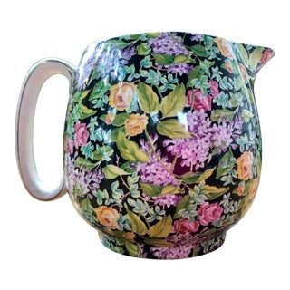 "English Lord Nelson Ware ""Black Beauty"" Floral Chintz Pitcher For Sale"