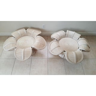 1970s Hollywood Regency Rattan Pencil Reed Bell Flower Coffee Tables - a Pair Preview