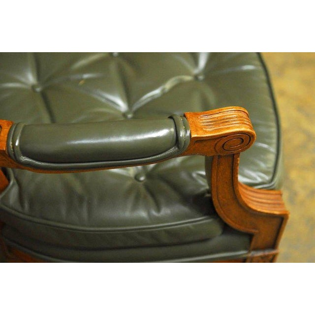 Louis XVI Style Leather Fauteuil Armchairs - A Pair - Image 6 of 10