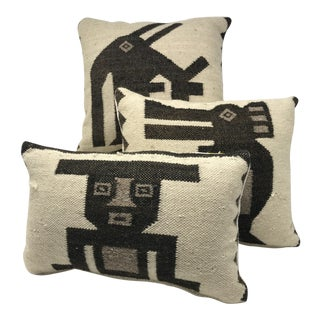 Antique Peruvian Wool Throw Pillows - Set of 3 For Sale