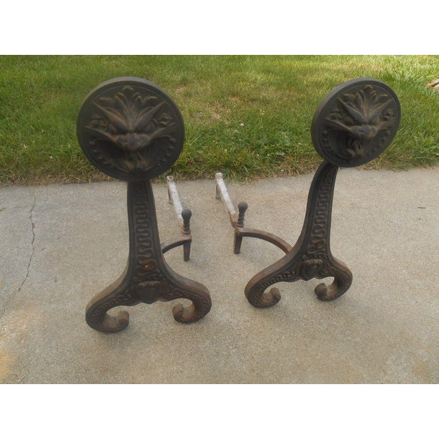 Antique B & H Chinese Lion Andirons 1886 - Pair - Image 3 of 7