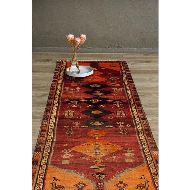 "Vintage Persian Tribal Abstract Design Runner Rug, 1970s - 42"" x 108"" - Image 3 of 3"