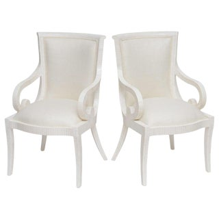 Fully Restored Tessellated Bone Armchairs With Silk Upholstery - A Pair For Sale