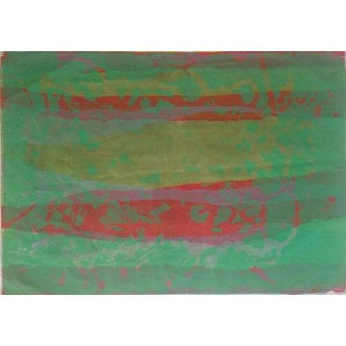 "Estelle Levin Siegelaub Green Abstract c. 1960's Silkscreen on vellum Paper 24.5"" x 19.25"" Unframed Attributed to Estelle..."