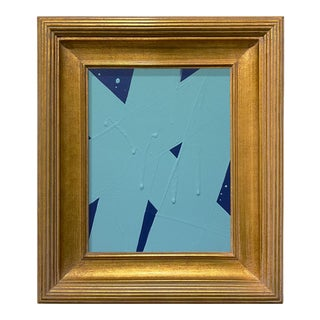 Ron Giusti Mini Abstract Navy and Light Blue Acrylic Painting, Framed For Sale