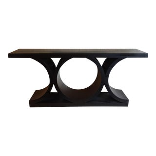 Architectural Black Wood Console Table