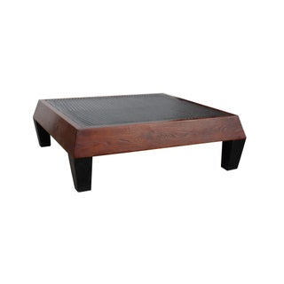 Brown Contemporary Black Geometric Pattern Square Straight Legs Coffee Table Preview