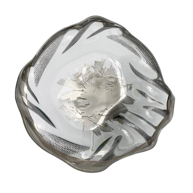 Unique Sculptural Art Glass Low Bowl With Silver Details For Sale