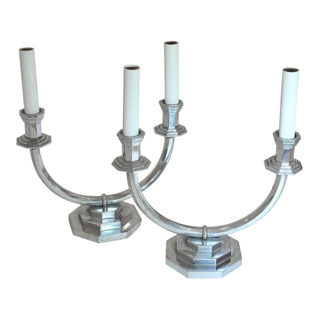 French Mid-Century Mantle Lamps - a Pair For Sale