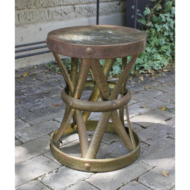 Mid-Century Hammered Brass Drum Table - Image 2 of 6