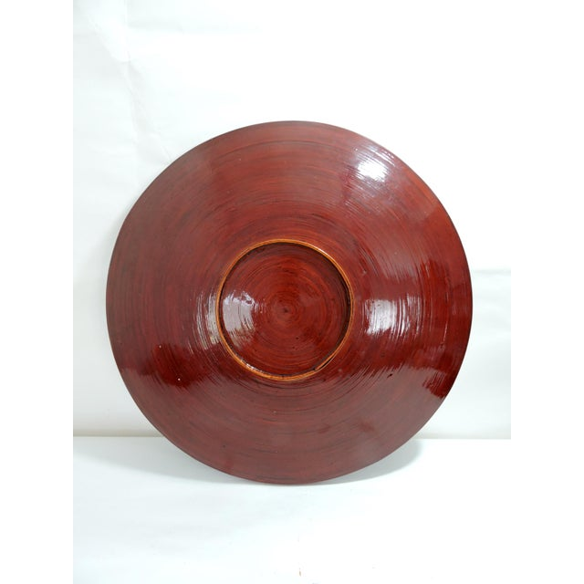 Vintage Burmese Red Lacquer & Bamboo Plates and Charger - Set of 7 For Sale - Image 4 of 10