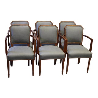 French Dining Arm Chairs, Circa 1920's, Set of 6