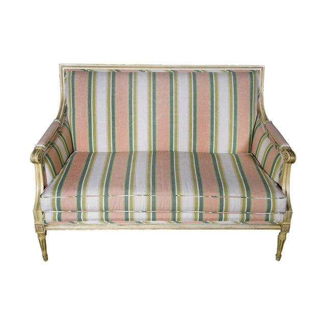 Carved Settee Sofa Loveseat - Image 1 of 4