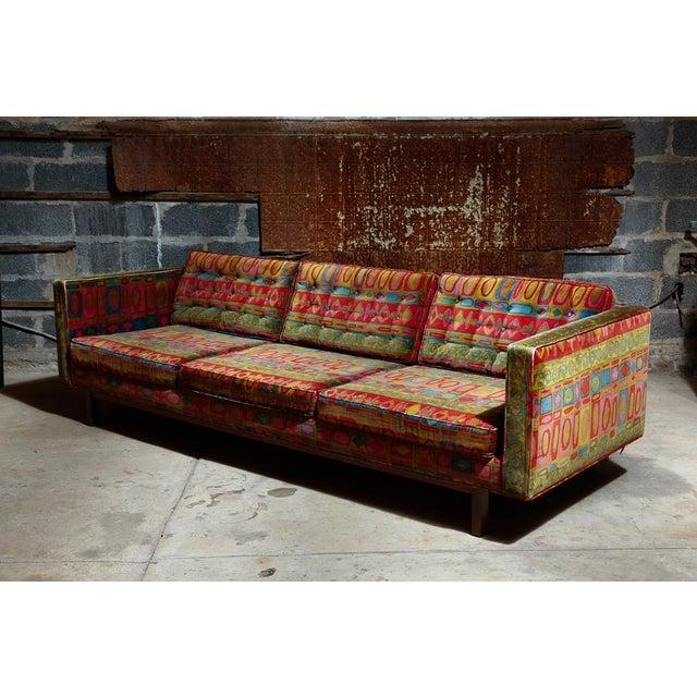 Edward Wormley Dunbar sofa with original Jack Lenor Larsen upholstery For Sale - Image 11 of 11