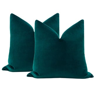 "22"" Teal Velvet Pillows - a Pair For Sale"