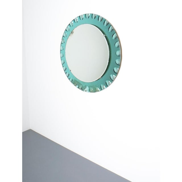 Mid-Century Modern Fontana Arte Attributed Wall Mirror Green Glass, Midcentury Italy For Sale - Image 3 of 8