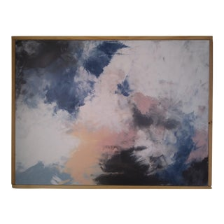 """Blue Pieces"" Large Framed Abstract Painting by Kris Gould For Sale"