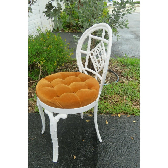 Metal 1970s Vintage Hollywood Regency Painted Iron Faux Bamboo Side Chair Stool by Kessler For Sale - Image 7 of 13