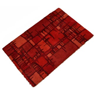 "Swedish MCM Red Abstract Rya Rug - 6'5"" X 9'5"""