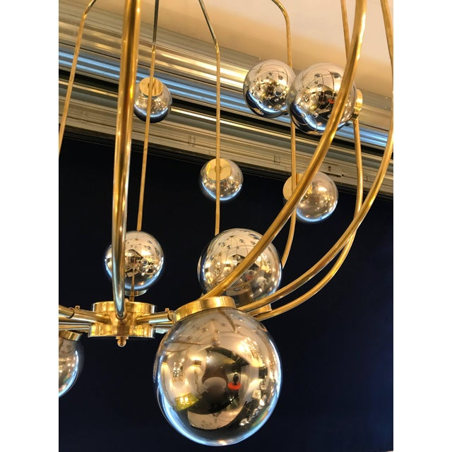 Contemporary Chandelier Brass Cage. Italy For Sale - Image 9 of 11