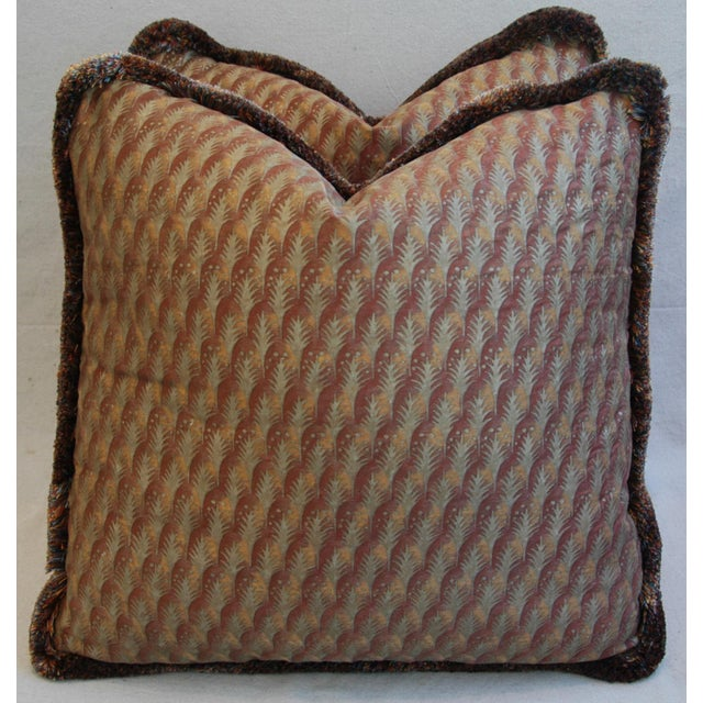"Gold 23"" Custom Tailored Italian Mariano Fortuny Piumette Feather/Down Pillows - Pair For Sale - Image 8 of 11"